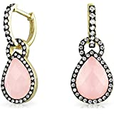 Bling Jewelry Simulated Rose Quartz CZ Dangle Earrings Gold Plated 925 Silver