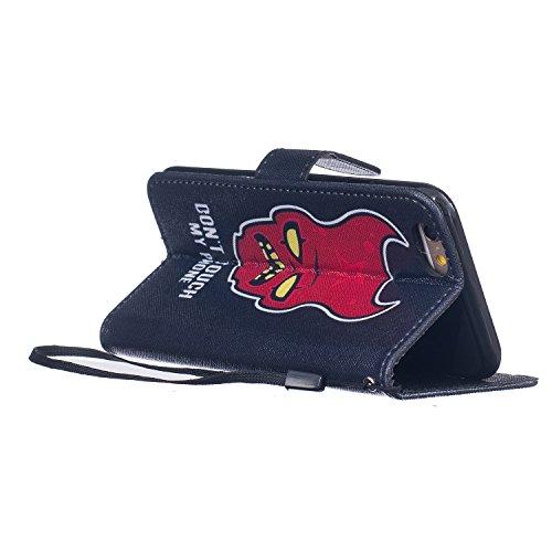 Felfy Tasche für iPhone 6 Hülle,iPhone 6S Leder Brieftasche Flip Hülle BookStyle PU Leder Wallet Case Hunde Katzen Fuchs Rose Farbe Muster Lederhülle Folio Schutzhülle Ledertasche PU Leder & Silikon I DON'T TOUCH MY PHONE