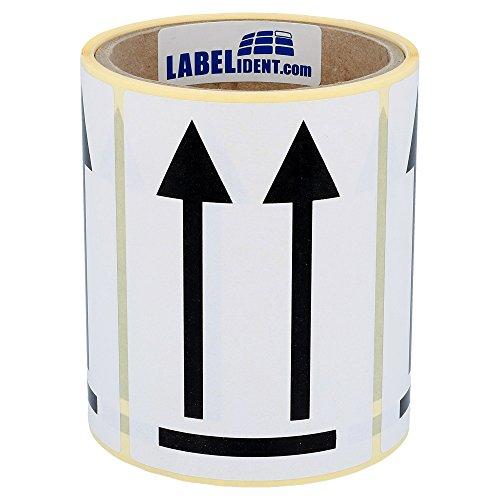 Versandaufkleber - Pfeile nach oben - Seite nach oben - 74 x 105 mm - 100 Stück auf Rolle, weiß, Papier, permanent haftend - Packstückorientierung, Doppelpfeil