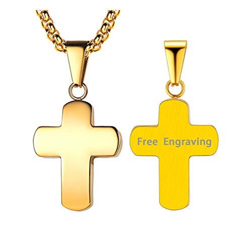 FaithHeart Edelstahl Anhänger Kreuz Dog Tag Männerschmuck Herren Hochglänzend mit personalisierte Kette mit Gravur vergoldet 18K Halskette