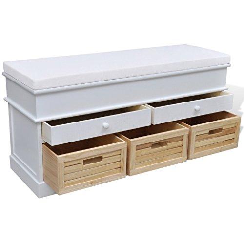 vidaXL Sitztruhe 2 Schubladen + 3 Kisten - 3