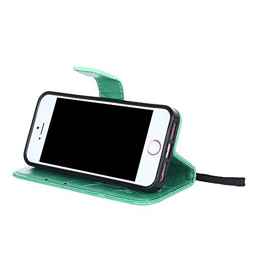 Custodia iPhone 5S, iPhone SE Cover, ikasus® iPhone 5S/iPhone SE Custodia Cover [PU Leather] [Shock-Absorption] Goffratura Fiore Farfalla e Datazione Ant Protettiva Portafoglio Cover Custodia colore p Verde