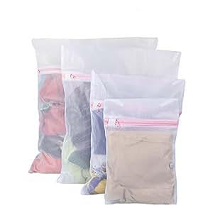 Vivifying 4 Stück Wäschebeutel, Wiederverwendbare Netzbeutel für Wäsche mit Reißvverschluss Ideal für BH, Unterwäsche, Socken, Strumpfhosen, Babysachen (Weiß)