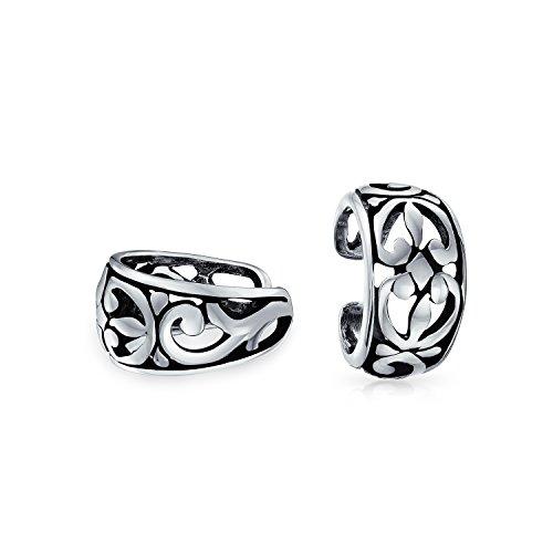 Ausschnitt Filigrane Blume Blätter Band Knorpel Ohr Manschetten Ohrstulpe Ohrringe Nicht Durchbohrt Ohr Sterling Silber