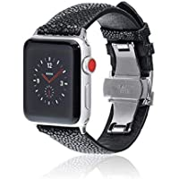 fitjewels for Apple Watch Band 42mm 44mm - Stingray - Black Silver - Leather iwatch Strap Replacement Band with Butterfly Clasp for Apple Watch Series 4 Series 3 Series 2 Series 1