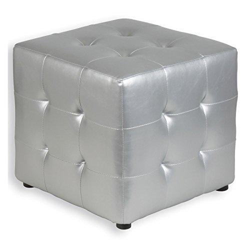 IDIMEX Würfelhocker Sitzhocker Sitzwürfel Polsterhocker DIANA silber