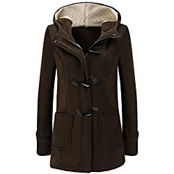 BBestseller Mujer Hooded Invierno Abrigo con Horn Botones Casual Sudadera con Capucha Chaqueta de Lana Capa Jacket Parka Pullover Outwear