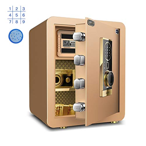 Tresore Tresore Stolen Versicherung Box Electronic Passwort Dunkle Version des Passwort-Box Kosmetik Schmuck Schrank Fingerabdruck Entsperren Sicherheitstechnik (Color : Gold, Size : 38 * 31 * 45cm) -
