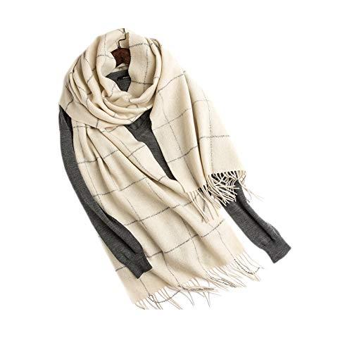 Xyuluy Wollschal, stilvoller und eleganter Stil, Quasten- und Silberdrahtdekoration, Warmer Schal, 40 * 240CM,C -