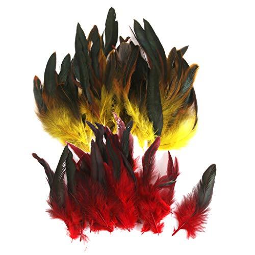 Baoblaze 100er Set Hahnenfedern Flügelfedern Hahn Federn Schmuckfedern Feather für bekleidung Hut Tasche Kostüm