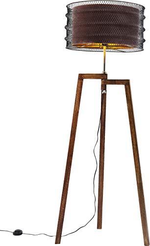 Kare 61536 Stehleuchte Wire Tripod Mocca, Gestell: Mango Massivholz gewachst Walnußfarben, Edelstahl poliert, Stahl pulverbeschichtet, Schirm: Polystyrol, Polyester, transparent