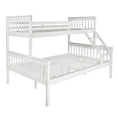 Tuff Concepts Triple Bunk Bed Frame White Solid Wooden 3 Sleeper Bed Frame Down Double Up Single Design