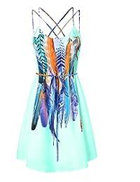 Vestidos Mujer Verano Elegante de Mini Vestir sin Mangas de para Playa Fiesta,Plumas Impresas
