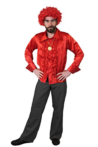 ILOVEFANCYDRESS 1960S KOSTÜM Disco Hippie Set Verkleidung=Rotes RÜSCHEN Hemd+Gold FARBENDEM Medallion+Rote Afro PERÜCKE=Samstag Nacht Retro - 1960 Disco Kostüm