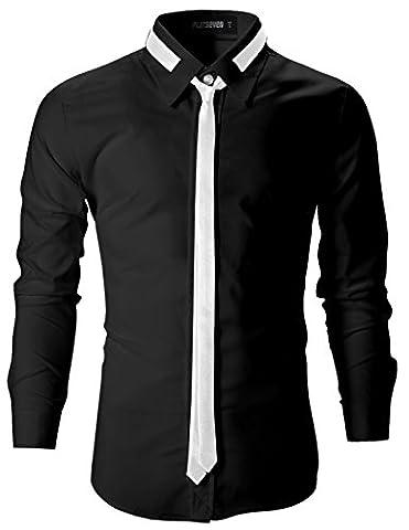 FLATSEVEN Mens Slim Fit Dress Shirts with Tie (SH107) Black,