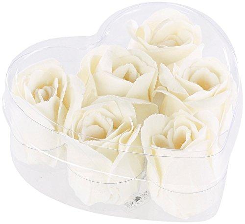 PEARL Baderosen: 6 cremeweiße Rosen-Duftseifen in Geschenk-Box (Rosenseife)