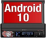 PUMPKIN Android 10 Autoradio 1 Din Radio mit Navi Ausfahrbares Touchscreen Unterstützt Bluetooth DAB+ DSP Andr