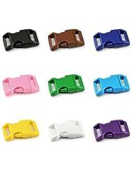 'clic color de mezcla set 5/8(15mm de ancho) de plástico/Cierre Clip/Baender24-Produkt–/ranuras de cierre para paracord ärmbänder, perros de cuello bandas, mochila, viaje Equipaje etc. Marca Ganzoo, 18 Stück