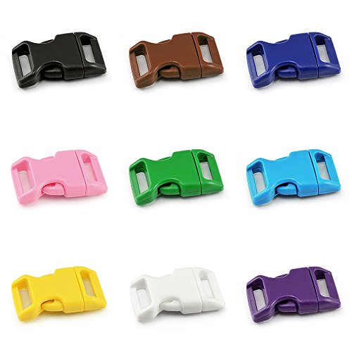 41379D5UecL. SS500  - Ganzoo clip fasteners, colour mix, 15 mm (5/8 inch) width, clip fasteners, buckle fasteners, buckle for paracord bracelets, dog collars, backpack, luggage