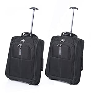 Set of 2 Frenzy/5Cities 55cm/50cm Lightweight Trolley Hand Luggage Bag - Approved Ryanair & Easyjet 2 Wheel Cabin Carry On Board Baggage. 33L/42L Travel Suitcase Bag with Padlock