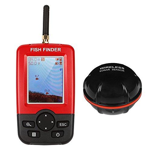 LeaningTech Tragbar Drahtlos Tiefe Fischfinder Echolot, Wasserdicht Unterwasser Elektronischer drahtloser beweglicher Fischsucher Fishfinder Angeln Sonar Sensor mit längerer Reichweite Antenne,Fishfinder Alarm mit LCD-Display, Karpfen und Nachtfischen Test