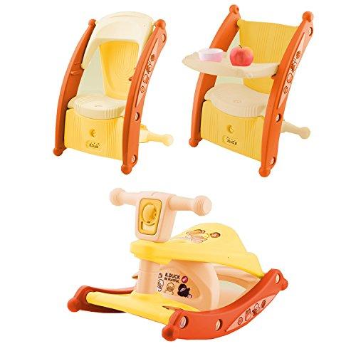 Serface Schaukelpferd & Essstuhl Baby 3 in 1 Multifunktion mit Beleuchtungs- und Musiksystem | Schaukeltier Babystuhl Schaukelstuhl Kinder (63 X 38.5 X 39cm)