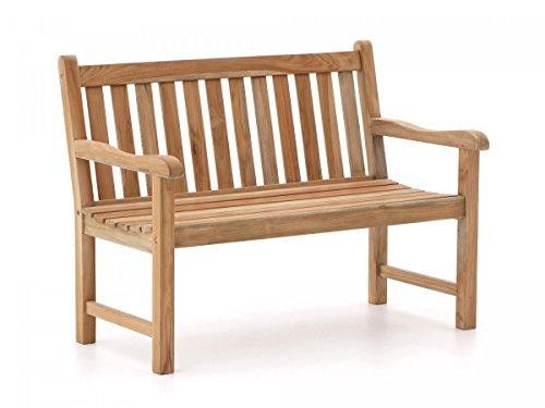 Stabile Gartenbank Sunyard Wales aus massivem, unbehandeltem Holz, Teakholz 2 Sitzer 120 cm