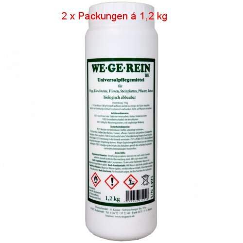 WE.GE.REIN Universalpflegemittel für Wege,Kieselsteine,Fliesen, Steinplatten, Beton usw. 2 x 1,2 kg (Wasser Mechanische)