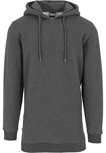 Urban Classics Herren Sweatshirt Kapuzenpulli Long Side Zipped Hoody Schwarz (Charcoal) Large