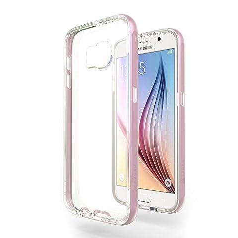 Azorm Handyhülle für Samsung Galaxy S6, Hybrid Edition Smartphone Hülle, Bumper Schutzhülle Anti-Rutsch und Kratzfest, Silikon Rückseite Transparent - Rosa
