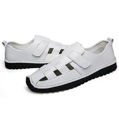 Herren Sandalen Loch Schuhe Leichte Sohle Leder Frühling Sommer Outdoor Casual Magic Tape flachem Absatz Schwarz Weiß Schuhe White