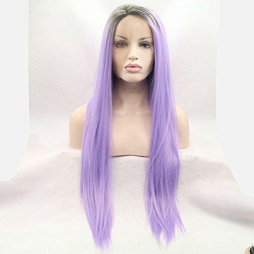 Fashion Miel Violet Ombre Soyeuse Droite Perruque lace front synthétique avec racines Châtain Foncé Longue deux tons Couleur résistant à la chaleur fibre cheveux