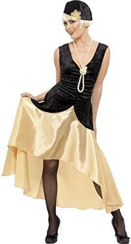 Damen 1920er jahre 1930er jahre Gatsby Mädchen Schwarz/Gold Flapper Kostüm Kleid Outfit Übergröße - 40-42 (Flapper-hut Jahren 1920er)