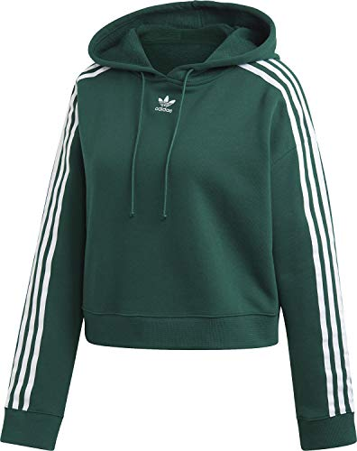 adidas Damen Cropped Hooded Sweatshirt, Collegiate Green, 36 Hooded Damen-pullover