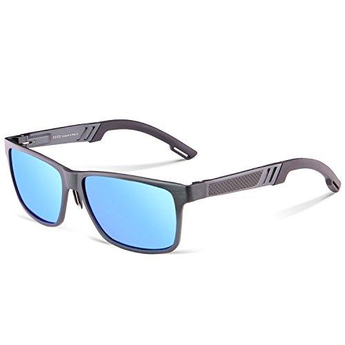 Duco occhiali da sole polarizzati da uomo con montatura in metallo fashion square per guida 2217 (lente blu con montatura gunmetal)