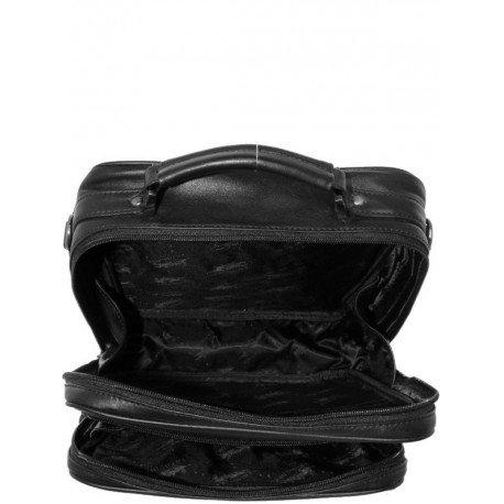 Charmoni-Custodia da polso-Borsa a tracolla, Valigetta da uomo, in pelle di vacchetta Amiensm Nero