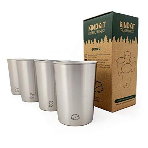 \'Freundliche Waldtiere\' Edelstahl Becher Set (280ml/4 Pro Pack) | BPA frei, stapelbare Trinkbecher für Kinder und Kleinkinder | Edelstahltassen für Daheim, Campen, Picknick, Reisen und Strand