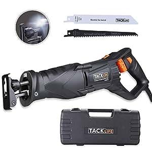 Sega a Gattuccio, Tacklife 850W Sega Universale Multifunzione con Luce LED, Maniglia Girevole, Velocità 0-2800RPM, 2 Lame di Ricambio per Tagliare Legno(0-180mm), Metallo(0-10mm) e Valigetta RPRS01A