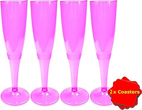 20 x High quality one piece disposable pink champagne flute / glass - 160 ml (6oz). Ideal for christenings, baby showers, hen do's, picnics, camping and glamping, festivals, outdoor pool, bbq, garden and special occasions. Offer Pack of 20 glasses with 4 x AIOS drinks mats in box. - Clip Flute