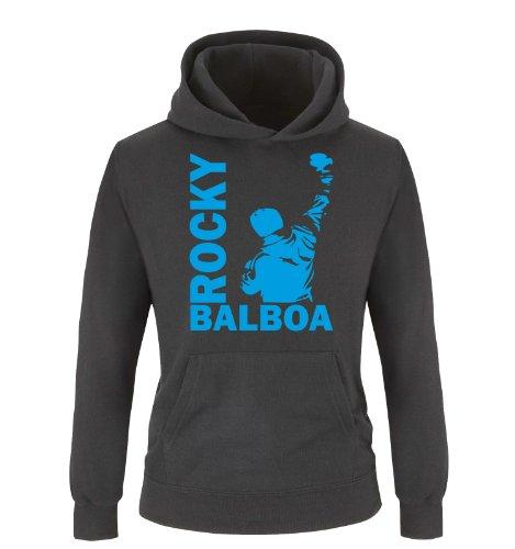 ROCKY BALBOA - III - Einfarbig - Kinder Hoodie - Schwarz / Blau Gr. 152/164 (Glauben Hoodie Kinder)