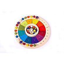 Calendario Anual Waldorf Montessori 32 cm, Calendario Perpetuo pintado a mano de inspiracion Waldorf- Montessori para ayudar a los niños a comprender el paso del tiempo.