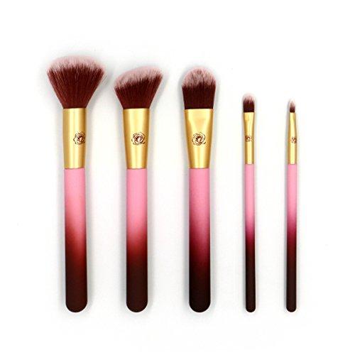 Pinceaux Maquillage, Brosse de Maquillage Professionnel, Kit de Pinceau 5pcs Outils pour Produits de Toute Consistance -Poudres, Crèmes, Liquides (Violet)