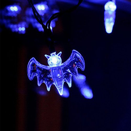 Xcellent Global 7.2ft/2.2meters 20 Blue Bat Fledermaus LEDs Schnur licht Battery Operated Fair Light For DIY Halloween Decoration M-LD068