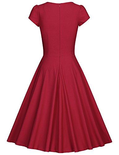MUXXN Vestiti Donna Anni 50 Vintage Vestiti Donna Eleganti Da Cerimonia Burgundy