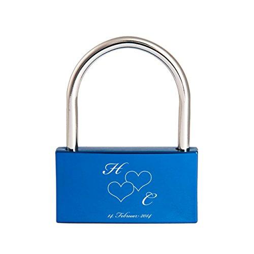 Liebesschloss mit Gravur / Namen / Datum / Herz - blau
