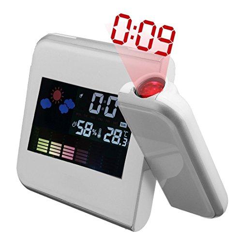 Preisvergleich Produktbild Andux Zone Projektion Wecker mit bunten LED Hintergrundbeleuchtung TYNZ-01 (weiß)