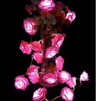 Lyuboov String von 20 LED-Batterie-Schnur-Licht-Blumen-Fee-Rose-Garten-Hochzeit Innendekoration Weihnachten (pink)