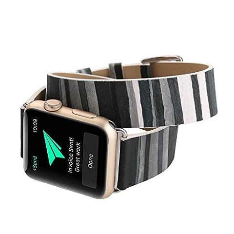 Gaddrt Bracelet en cuir longue bande double Circle tour de montre pour Apple Watch 42 mm (b)