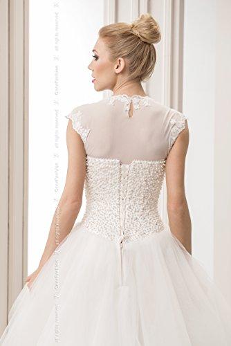 Femme Bolero couleur ivoire / blanc de mariee tulle Dentelle veste mariage T-shirt Ecru