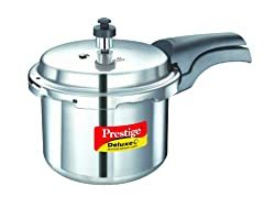 Prestige Deluxe Plus Induction Base Aluminium Pressure Cooker, 3 Litres